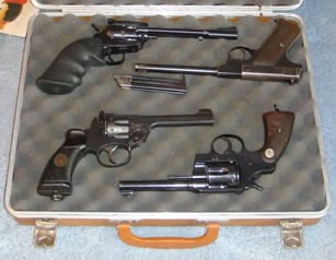 Four pistols in a case